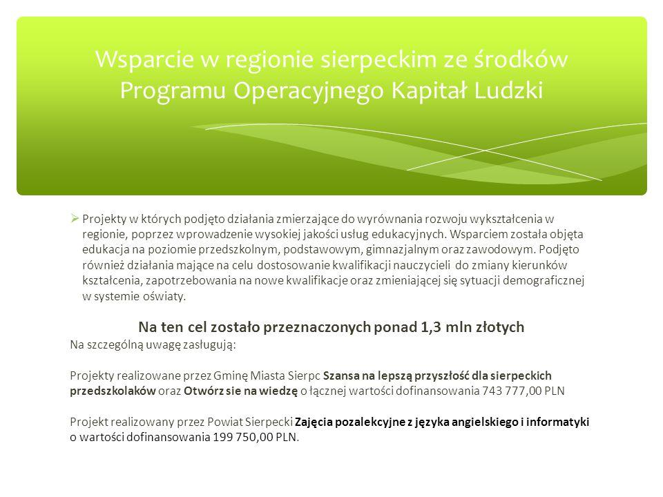 Podobne projekty zostały zrealizowane w większości gmin powiatu sierpeckiego: Gmina Mochowo – 775 929,64 PLN, Gmina Radziszewo – 104 607,00 PLN, Gmina Zawidz – 94 020,00 PLN, Wsparcie w regionie sierpeckim ze środków Programu Operacyjnego Kapitał Ludzki