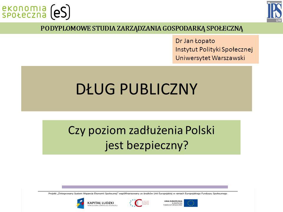 DŁUG PUBLICZNY Czy poziom zadłużenia Polski jest bezpieczny.