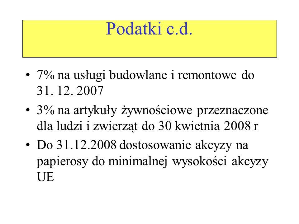 Podatki c.d. 7% na usługi budowlane i remontowe do 31.