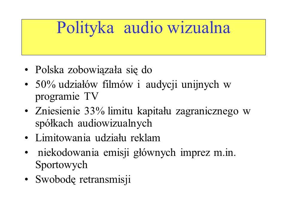 Polityka audio wizualna Polska zobowiązała się do 50% udziałów filmów i audycji unijnych w programie TV Zniesienie 33% limitu kapitału zagranicznego w spółkach audiowizualnych Limitowania udziału reklam niekodowania emisji głównych imprez m.in.