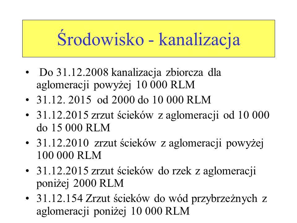 Środowisko - kanalizacja Do 31.12.2008 kanalizacja zbiorcza dla aglomeracji powyżej 10 000 RLM 31.12.