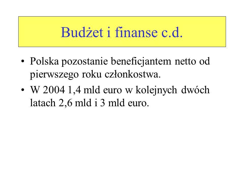 Budżet i finanse c.d. Polska pozostanie beneficjantem netto od pierwszego roku członkostwa.