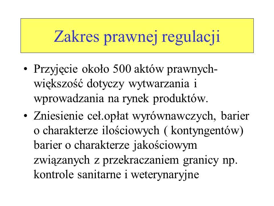 Zakres prawnej regulacji Przyjęcie około 500 aktów prawnych- większość dotyczy wytwarzania i wprowadzania na rynek produktów.