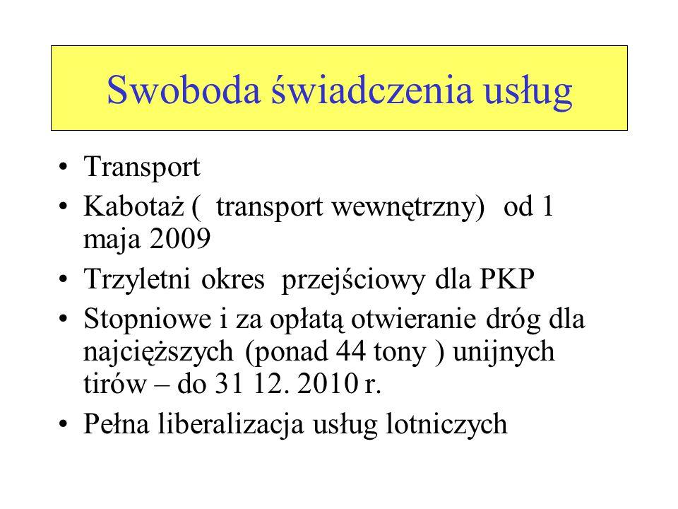 Swoboda świadczenia usług Transport Kabotaż ( transport wewnętrzny) od 1 maja 2009 Trzyletni okres przejściowy dla PKP Stopniowe i za opłatą otwieranie dróg dla najcięższych (ponad 44 tony ) unijnych tirów – do 31 12.