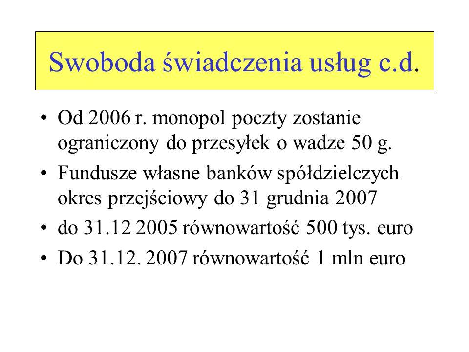 Swobodny przepływ kapitału 5 lat od daty członkostwa na nabywanie przez obywateli UE i obszaru EOG drugich domów Okres ten nie obowiązuje w stosunku do osób zamieszkałych legalnie w Polsce przez okres co najmniej 4 lat przed nabyciem nieruchomości 12 lat nieruchomości rolne i leśne Nie dotyczy to rolników UE dzierżawiących ziemię powyżej trzech lat a, w województwach: warmińsko- mazurskim, kujawsko pomorskim, zachodnio- pomorskim, lubuskim,wielkopolskim, dolnośląskim i opolskim przez lat 7