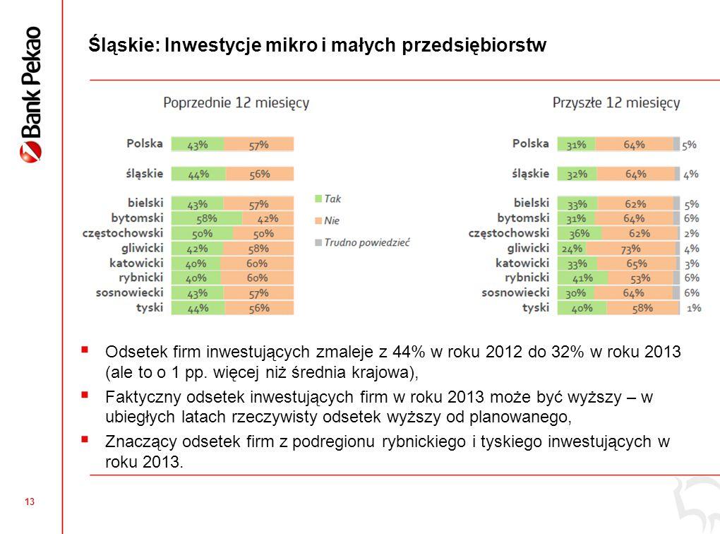 13 Śląskie: Inwestycje mikro i małych przedsiębiorstw  Odsetek firm inwestujących zmaleje z 44% w roku 2012 do 32% w roku 2013 (ale to o 1 pp.
