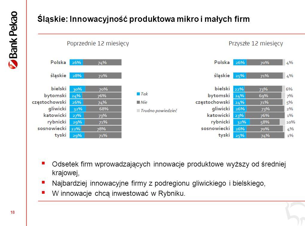 18 Śląskie: Innowacyjność produktowa mikro i małych firm  Odsetek firm wprowadzających innowacje produktowe wyższy od średniej krajowej,  Najbardziej innowacyjne firmy z podregionu gliwickiego i bielskiego,  W innowacje chcą inwestować w Rybniku.