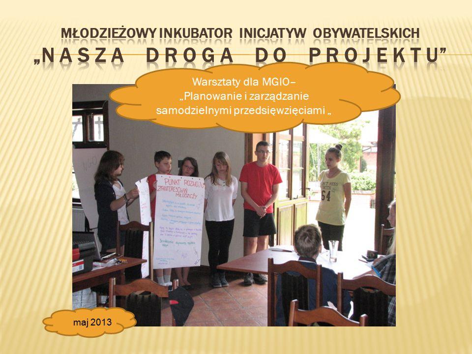 """Warsztaty dla MGIO– """"Planowanie i zarządzanie samodzielnymi przedsięwzięciami """" maj 2013"""