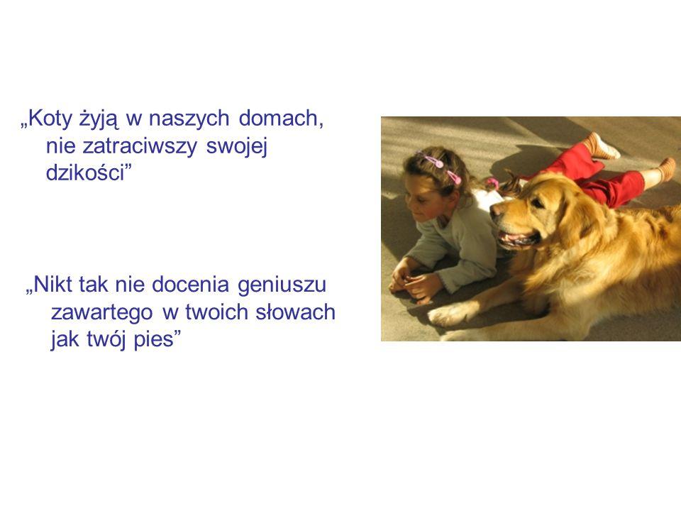 """""""Koty żyją w naszych domach, nie zatraciwszy swojej dzikości """"Nikt tak nie docenia geniuszu zawartego w twoich słowach jak twój pies"""