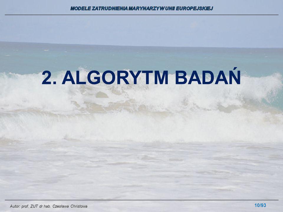 10/93 2. ALGORYTM BADAŃ Autor: prof. ZUT dr hab. Czesława Christowa