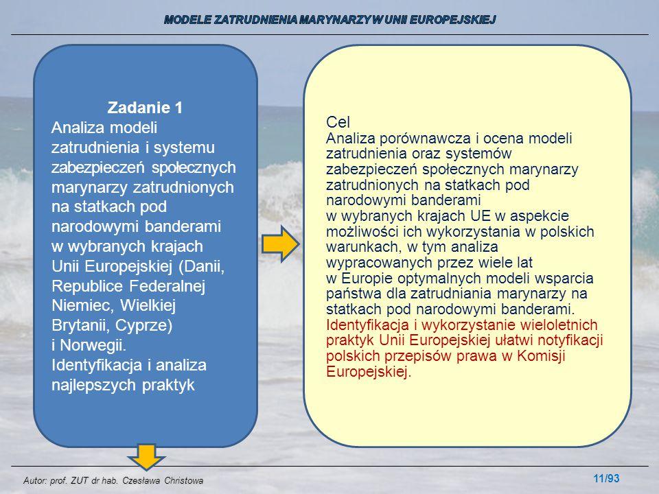 11/93 Zadanie 1 Analiza modeli zatrudnienia i systemu zabezpieczeń społecznych marynarzy zatrudnionych na statkach pod narodowymi banderami w wybranyc