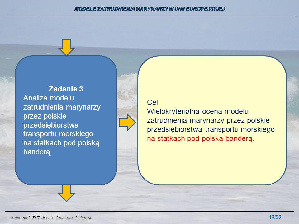 13/93 Zadanie 3 Analiza modelu zatrudnienia marynarzy przez polskie przedsiębiorstwa transportu morskiego na statkach pod polską banderą Cel Wielokryt
