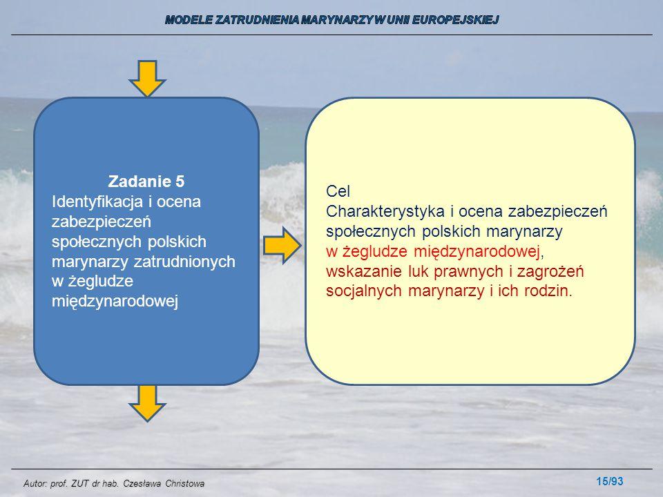 15/93 Zadanie 5 Identyfikacja i ocena zabezpieczeń społecznych polskich marynarzy zatrudnionych w żegludze międzynarodowej Cel Charakterystyka i ocena