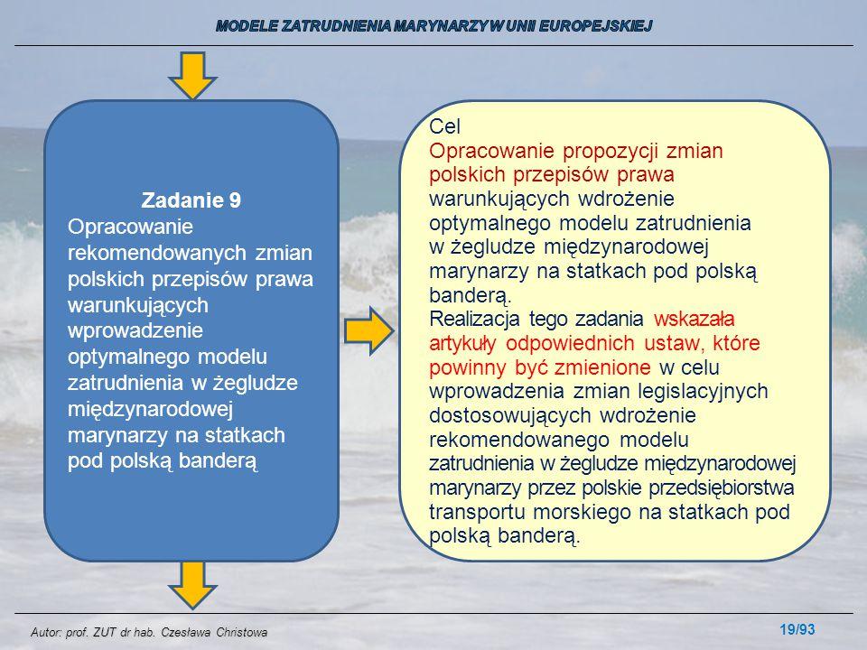 19/93 Zadanie 9 Opracowanie rekomendowanych zmian polskich przepisów prawa warunkujących wprowadzenie optymalnego modelu zatrudnienia w żegludze międz