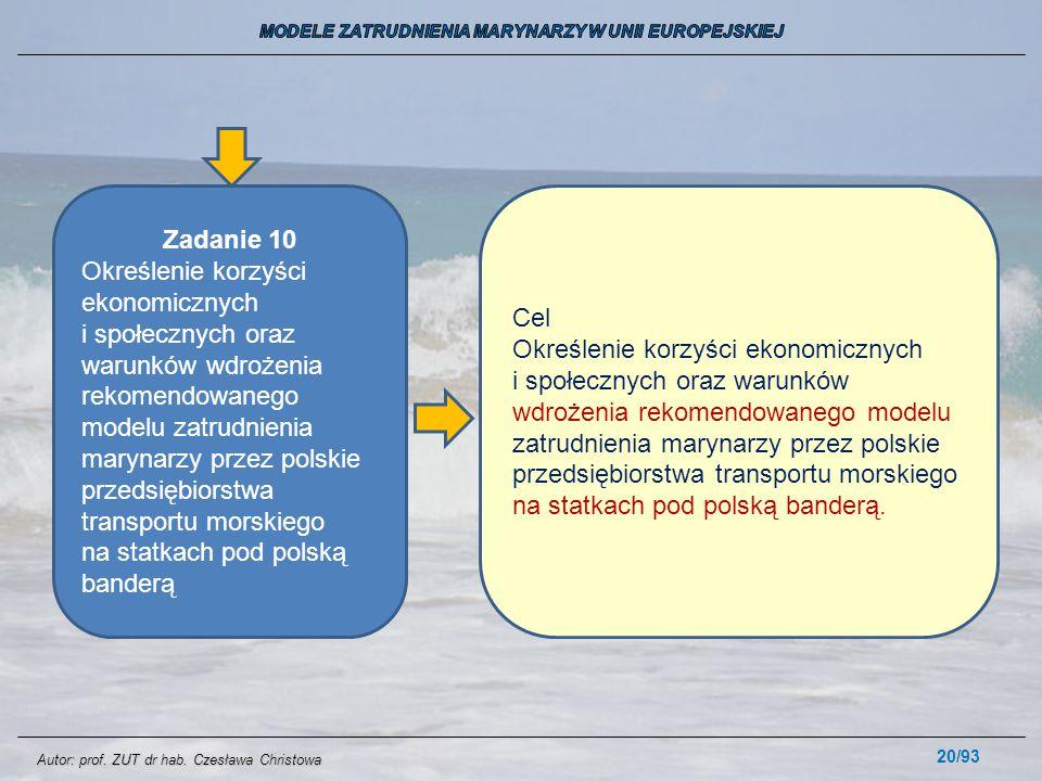 20/93 Zadanie 10 Określenie korzyści ekonomicznych i społecznych oraz warunków wdrożenia rekomendowanego modelu zatrudnienia marynarzy przez polskie p