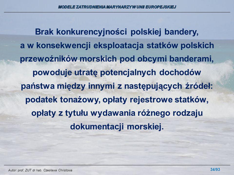 34/93 Brak konkurencyjności polskiej bandery, a w konsekwencji eksploatacja statków polskich przewoźników morskich pod obcymi banderami, powoduje utra