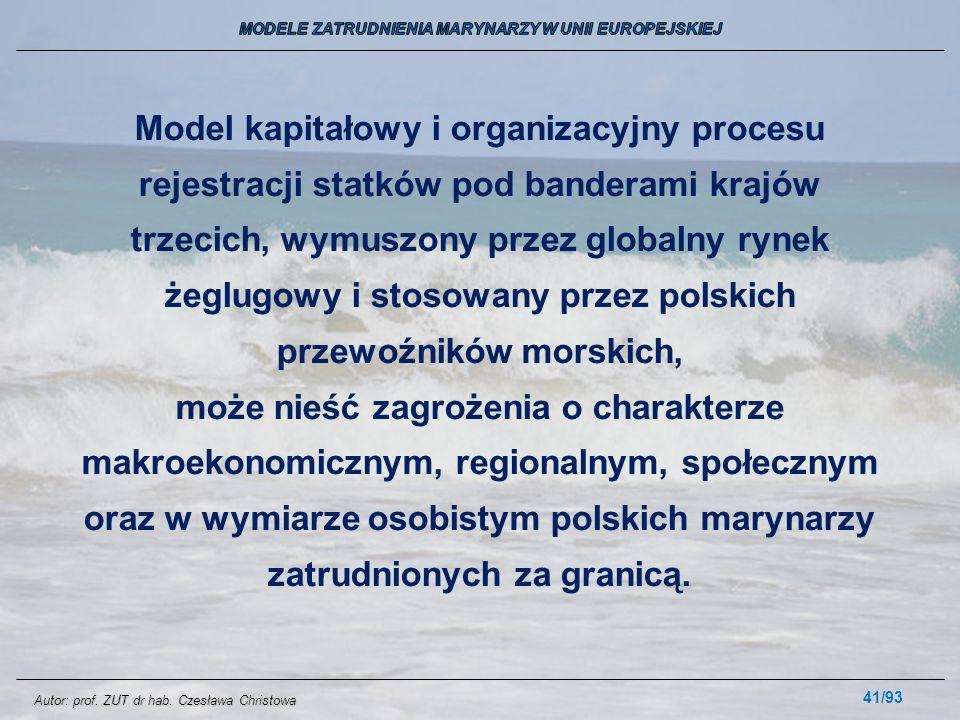 41/93 Model kapitałowy i organizacyjny procesu rejestracji statków pod banderami krajów trzecich, wymuszony przez globalny rynek żeglugowy i stosowany
