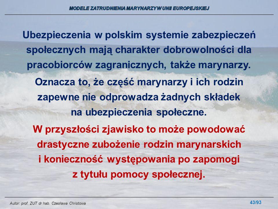 43/93 Ubezpieczenia w polskim systemie zabezpieczeń społecznych mają charakter dobrowolności dla pracobiorców zagranicznych, także marynarzy. Oznacza