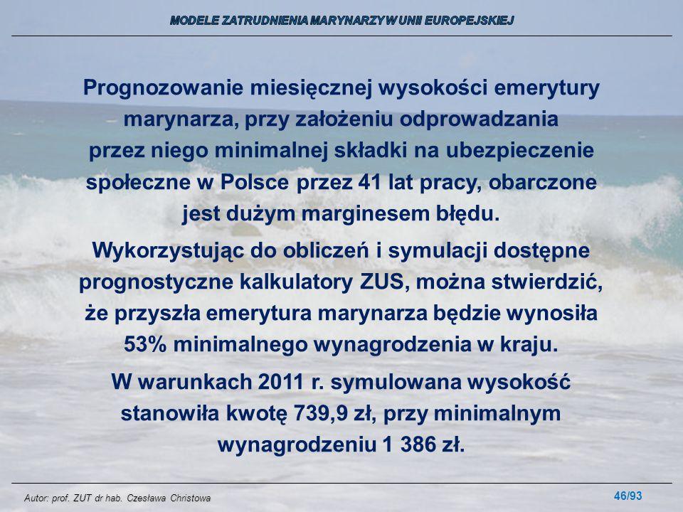 46/93 Prognozowanie miesięcznej wysokości emerytury marynarza, przy założeniu odprowadzania przez niego minimalnej składki na ubezpieczenie społeczne