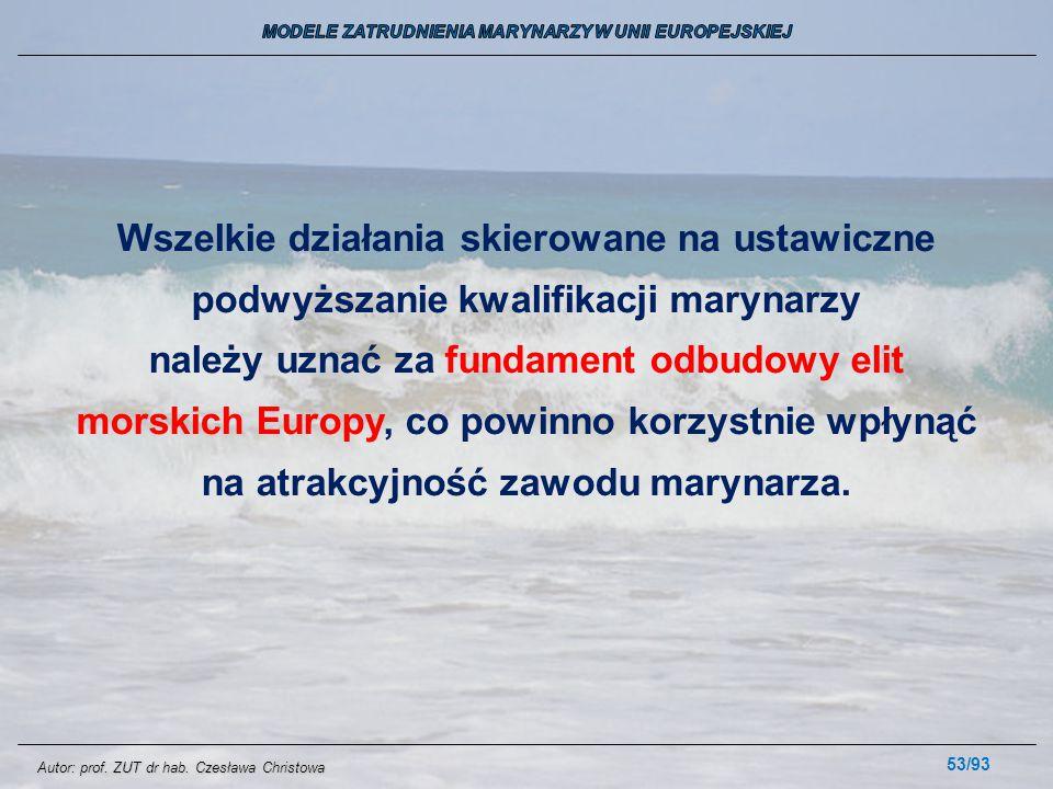 53/93 Wszelkie działania skierowane na ustawiczne podwyższanie kwalifikacji marynarzy należy uznać za fundament odbudowy elit morskich Europy, co powi
