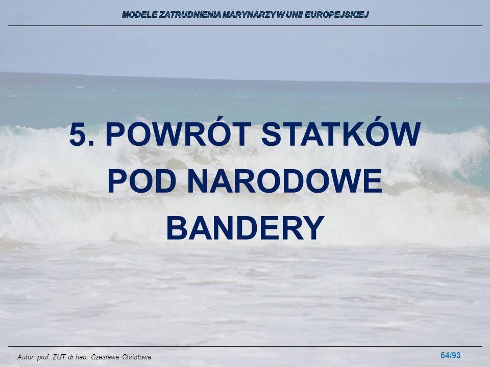 54/93 5. POWRÓT STATKÓW POD NARODOWE BANDERY Autor: prof. ZUT dr hab. Czesława Christowa