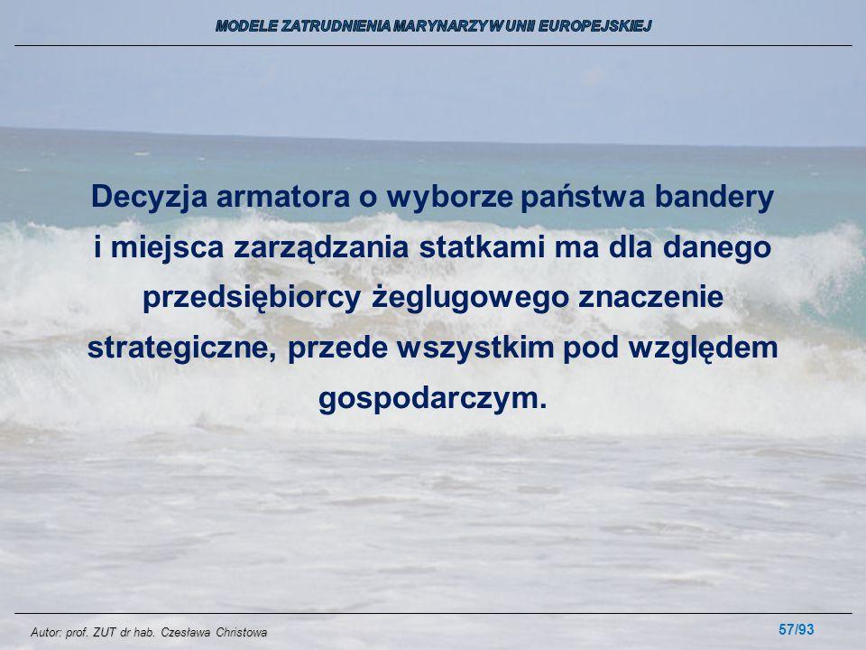 57/93 Decyzja armatora o wyborze państwa bandery i miejsca zarządzania statkami ma dla danego przedsiębiorcy żeglugowego znaczenie strategiczne, przed