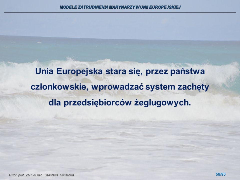 58/93 Unia Europejska stara się, przez państwa członkowskie, wprowadzać system zachęty dla przedsiębiorców żeglugowych. Autor: prof. ZUT dr hab. Czesł