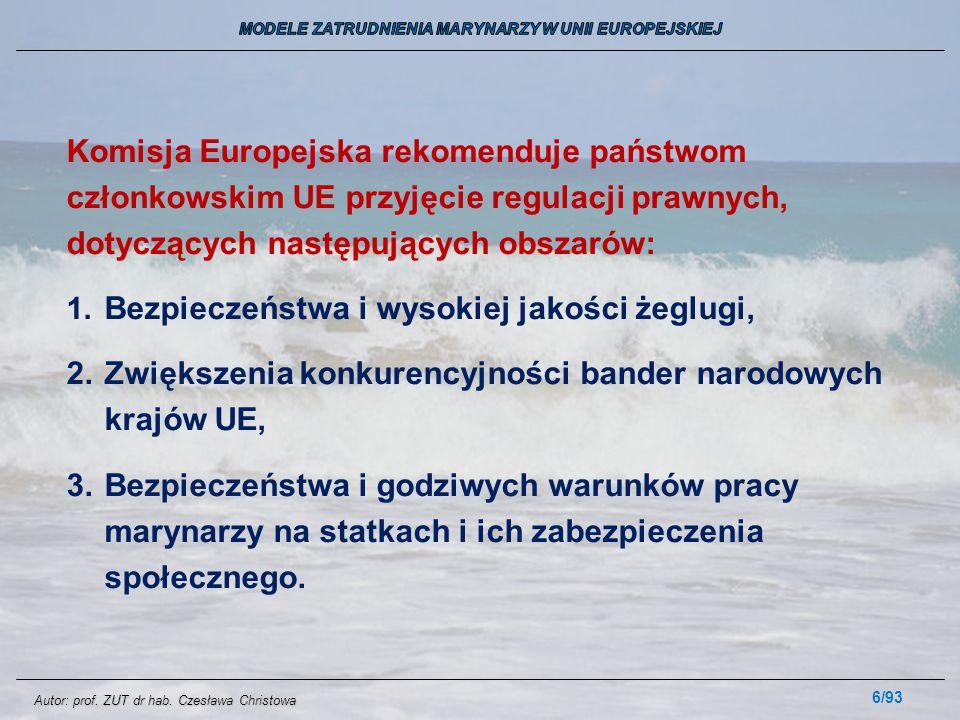 6/93 Komisja Europejska rekomenduje państwom członkowskim UE przyjęcie regulacji prawnych, dotyczących następujących obszarów: 1. Bezpieczeństwa i wys