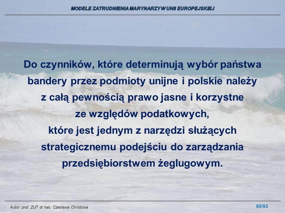 60/93 Do czynników, które determinują wybór państwa bandery przez podmioty unijne i polskie należy z całą pewnością prawo jasne i korzystne ze względó