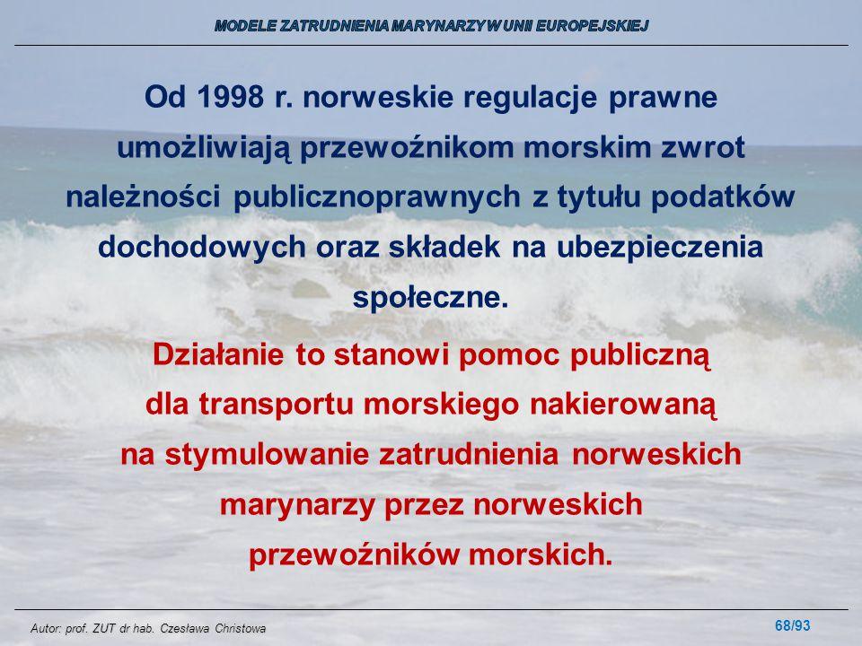 68/93 Od 1998 r. norweskie regulacje prawne umożliwiają przewoźnikom morskim zwrot należności publicznoprawnych z tytułu podatków dochodowych oraz skł