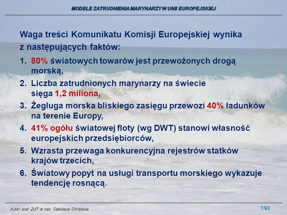 7/93 Waga treści Komunikatu Komisji Europejskiej wynika z następujących faktów: 1.80% światowych towarów jest przewożonych drogą morską, 2.Liczba zatr