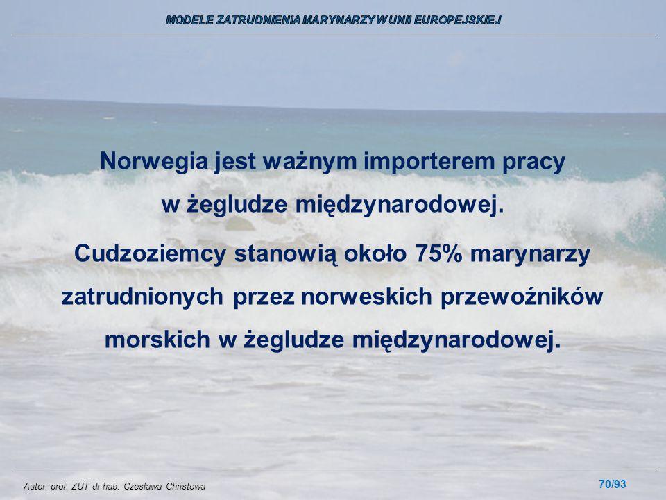 70/93 Norwegia jest ważnym importerem pracy w żegludze międzynarodowej. Cudzoziemcy stanowią około 75% marynarzy zatrudnionych przez norweskich przewo