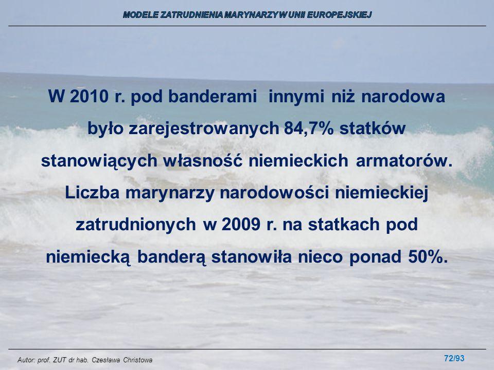 72/93 W 2010 r. pod banderami innymi niż narodowa było zarejestrowanych 84,7% statków stanowiących własność niemieckich armatorów. Liczba marynarzy na
