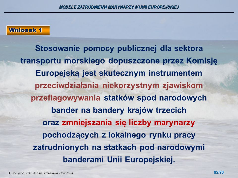 82/93 Wniosek 1 Stosowanie pomocy publicznej dla sektora transportu morskiego dopuszczone przez Komisję Europejską jest skutecznym instrumentem przeci
