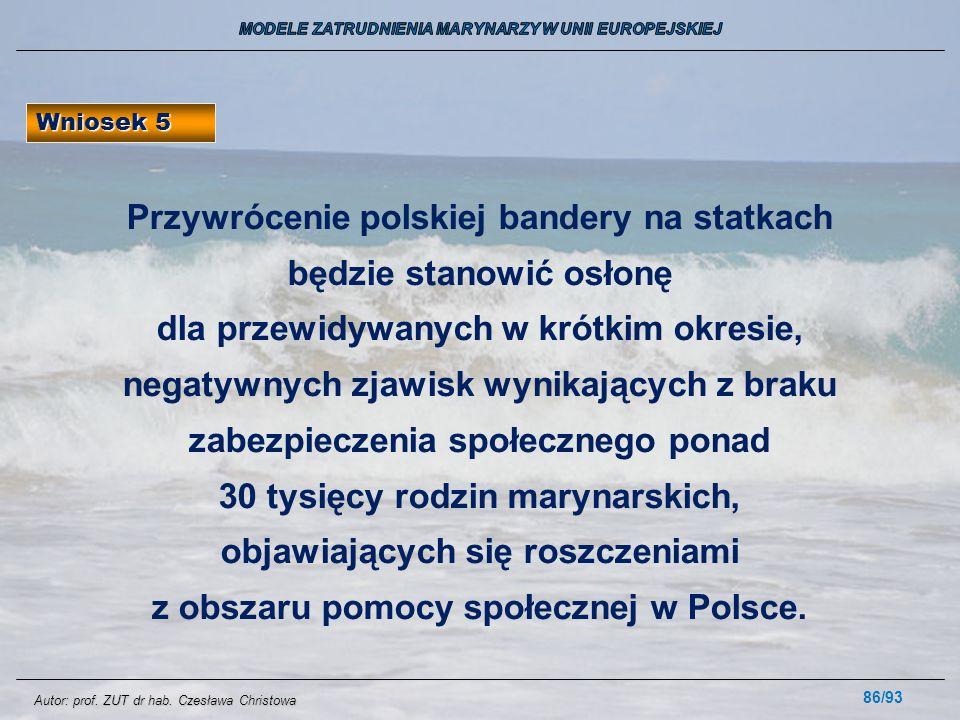 86/93 Wniosek 5 Przywrócenie polskiej bandery na statkach będzie stanowić osłonę dla przewidywanych w krótkim okresie, negatywnych zjawisk wynikającyc