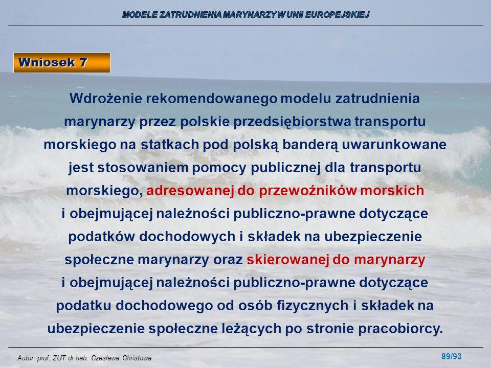 89/93 Wniosek 7 Wdrożenie rekomendowanego modelu zatrudnienia marynarzy przez polskie przedsiębiorstwa transportu morskiego na statkach pod polską ban