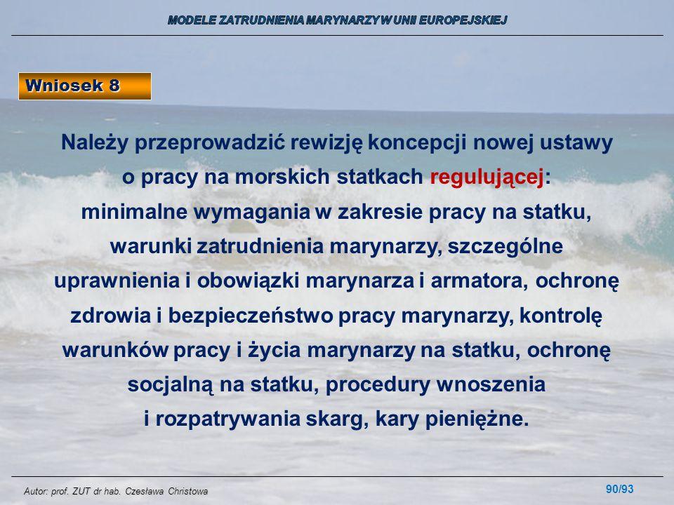 90/93 Wniosek 8 Należy przeprowadzić rewizję koncepcji nowej ustawy o pracy na morskich statkach regulującej: minimalne wymagania w zakresie pracy na