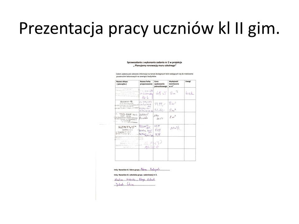 Prezentacja pracy uczniów kl II gim.