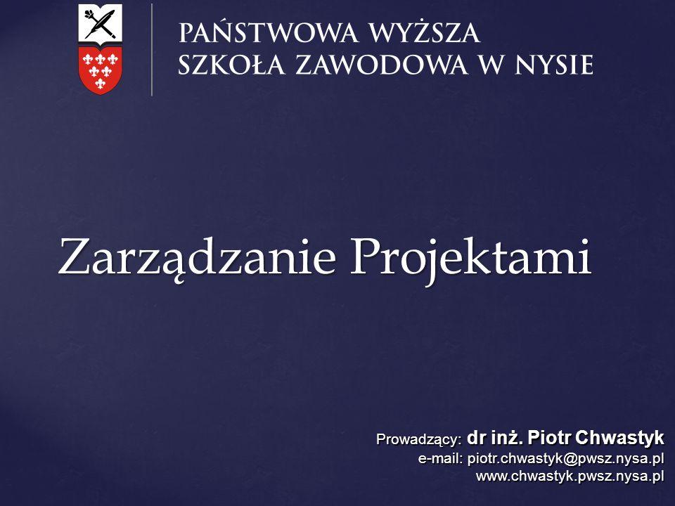 Zarządzanie Projektami Prowadzący: dr inż. Piotr Chwastyk e-mail: piotr.chwastyk@pwsz.nysa.pl www.chwastyk.pwsz.nysa.pl