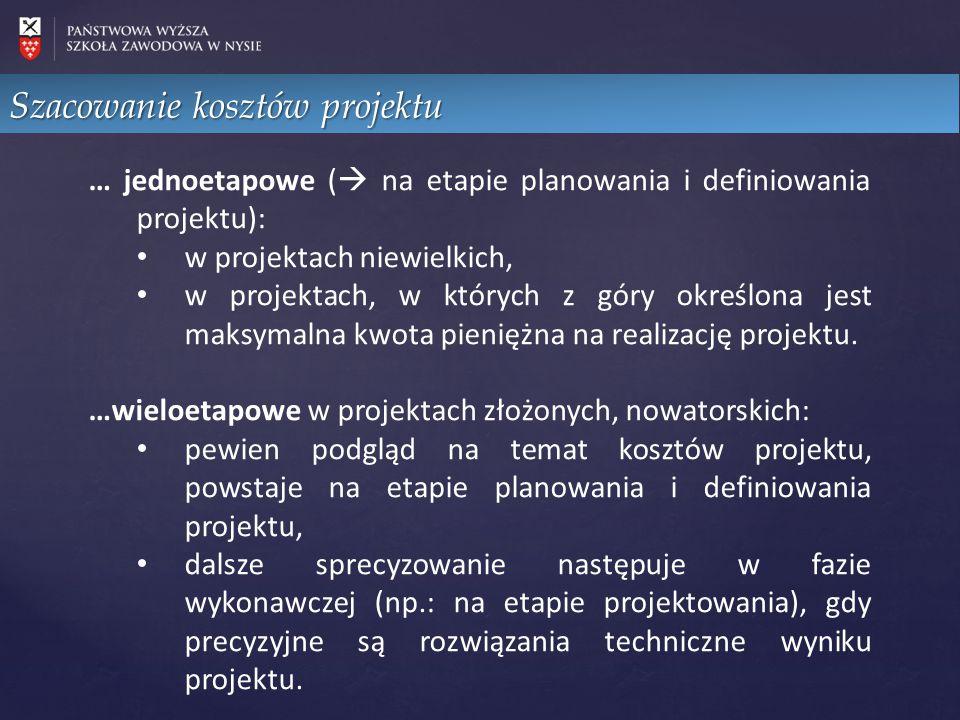 … jednoetapowe (  na etapie planowania i definiowania projektu): w projektach niewielkich, w projektach, w których z góry określona jest maksymalna k