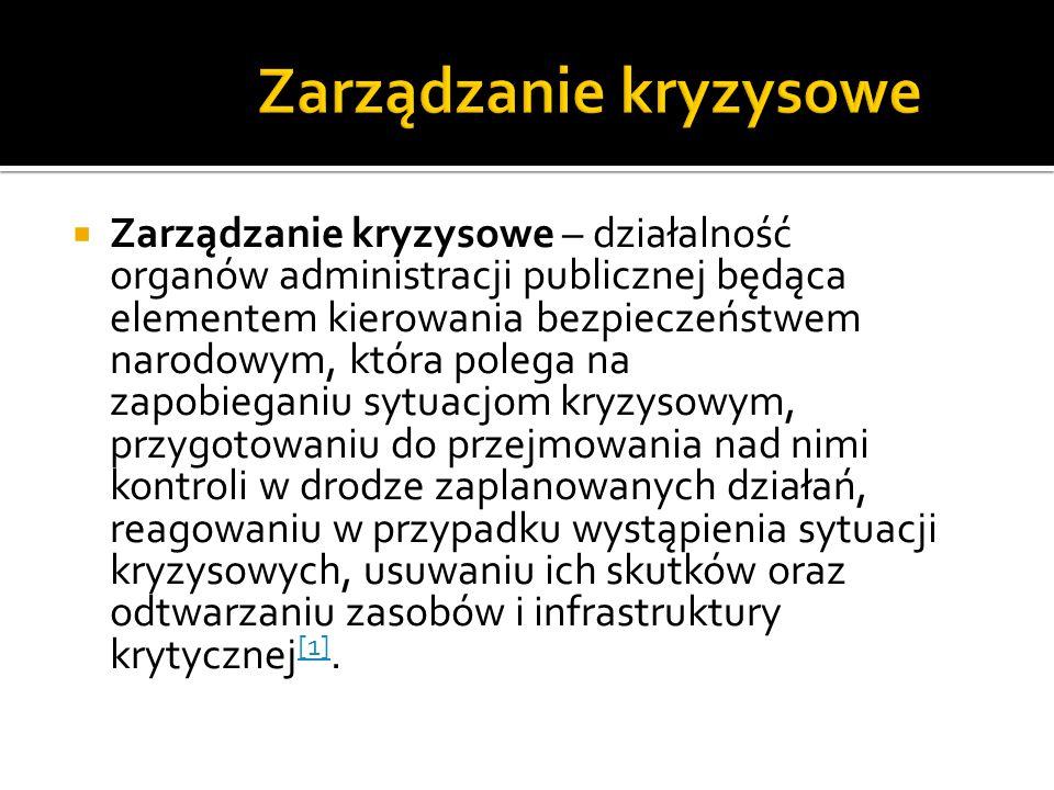  Zarządzanie kryzysowe – działalność organów administracji publicznej będąca elementem kierowania bezpieczeństwem narodowym, która polega na zapobieg