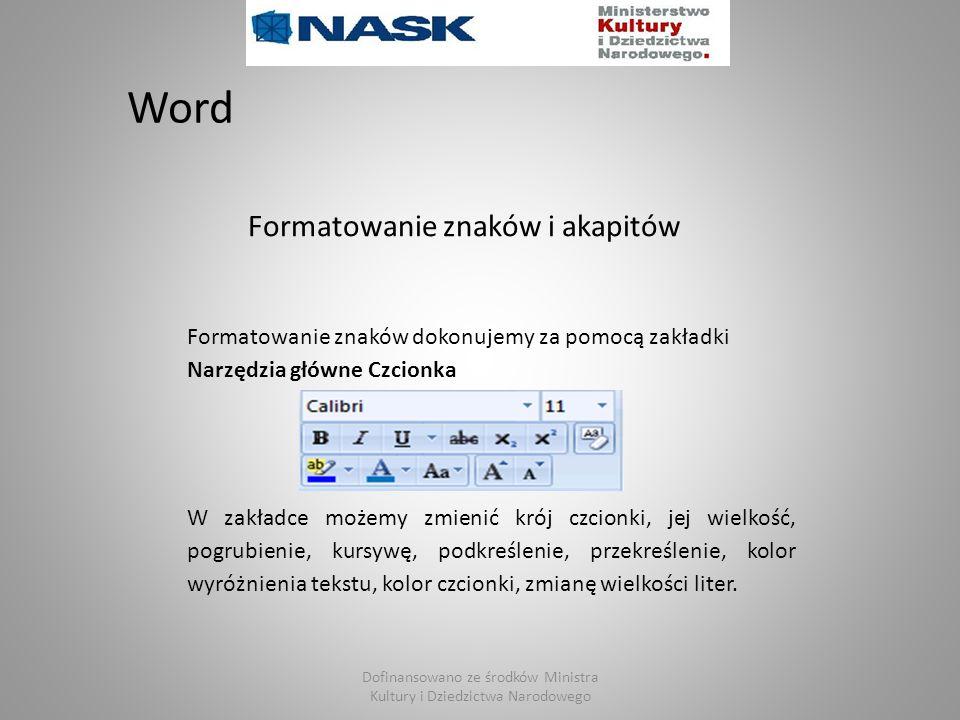 Dofinansowano ze środków Ministra Kultury i Dziedzictwa Narodowego Word Formatowanie znaków dokonujemy za pomocą zakładki Narzędzia główne Czcionka W
