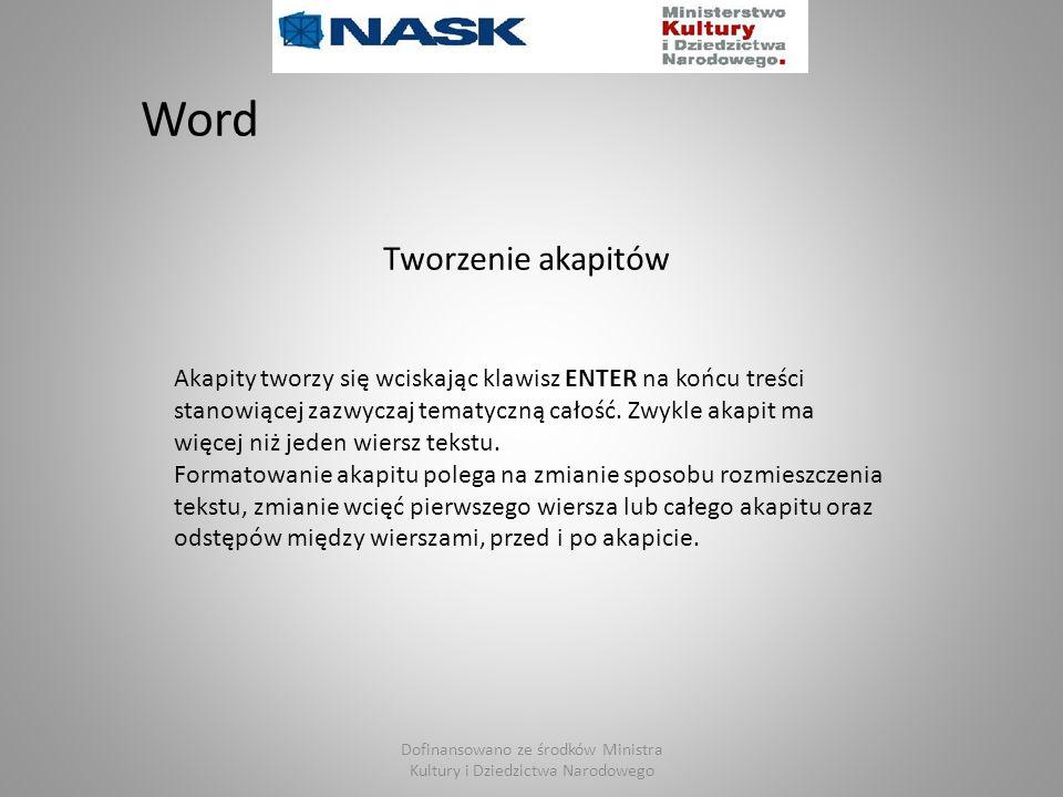 Dofinansowano ze środków Ministra Kultury i Dziedzictwa Narodowego Word Akapity tworzy się wciskając klawisz ENTER na końcu treści stanowiącej zazwycz
