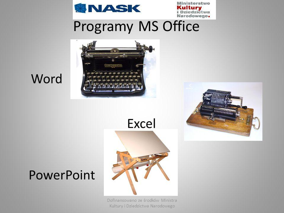 Programy MS Office Word Excel PowerPoint Dofinansowano ze środków Ministra Kultury i Dziedzictwa Narodowego