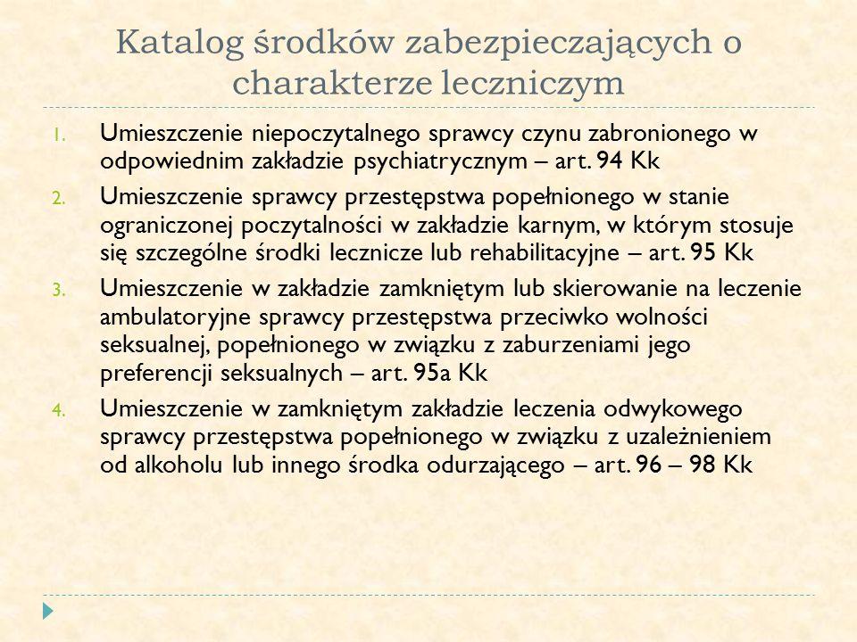 Katalog środków zabezpieczających o charakterze leczniczym 1.