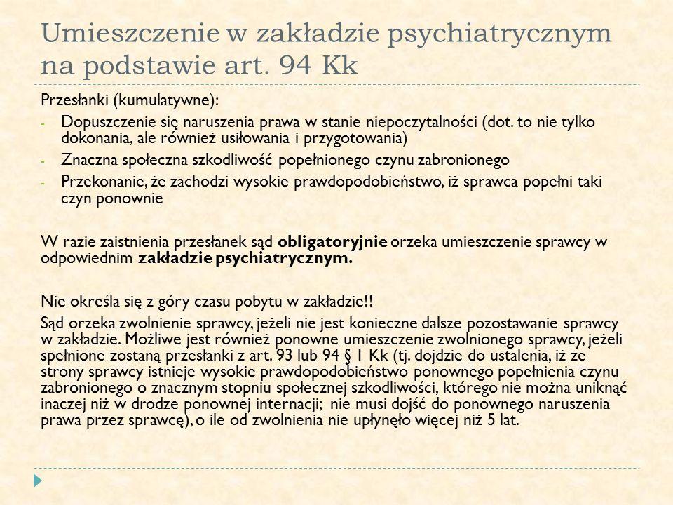 Umieszczenie w zakładzie psychiatrycznym na podstawie art.