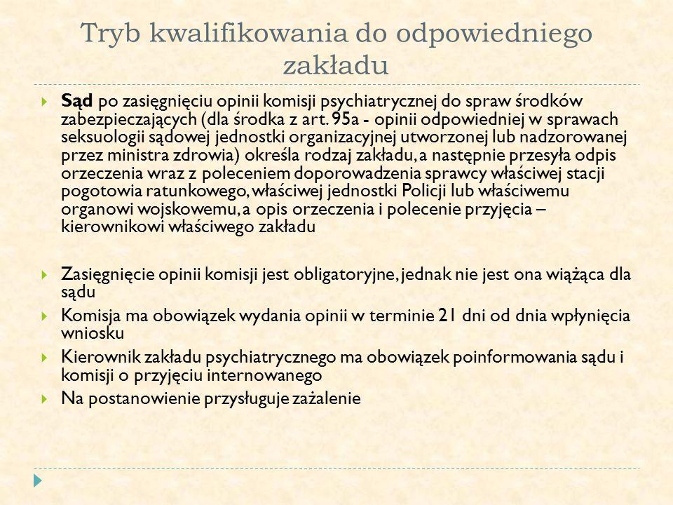 Tryb kwalifikowania do odpowiedniego zakładu  Sąd po zasięgnięciu opinii komisji psychiatrycznej do spraw środków zabezpieczających (dla środka z art.
