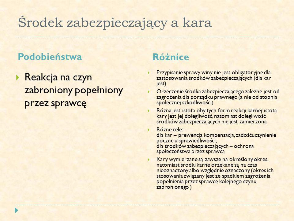 Podział środków zabezpieczających  Charakter środków zabezpieczających: 1) lecznicze 2) administracyjne (nielecznicze)  Związane z popełnieniem czynu zabronionego: 1) predeliktualne 2) postdeliktualne  Konieczność ich wymierzania przez sądy: 1) obligatoryjne 2) fakultatywne