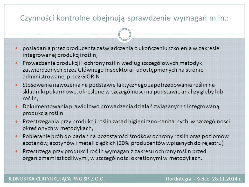 Czynności kontrolne obejmują sprawdzenie wymagań m.in.: JEDNOSTKA CERTYFIKUJĄCA PNG SP. Z O.O. HortIntegra - Kielce, 28.11.2014 r. posiadania przez pr