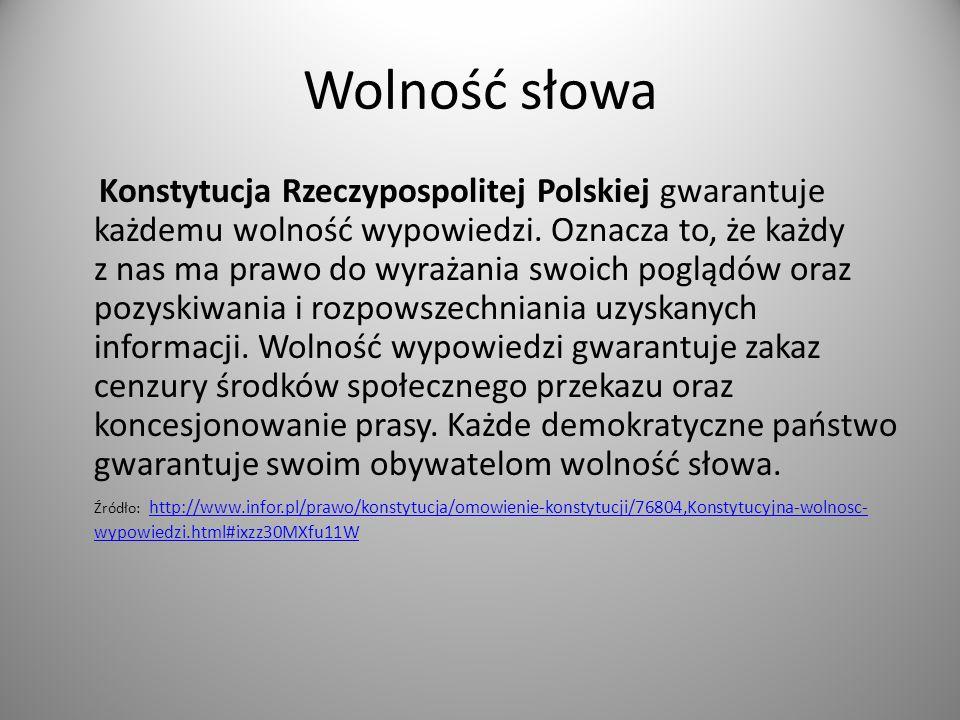 Wolność słowa Konstytucja Rzeczypospolitej Polskiej gwarantuje każdemu wolność wypowiedzi. Oznacza to, że każdy z nas ma prawo do wyrażania swoich pog